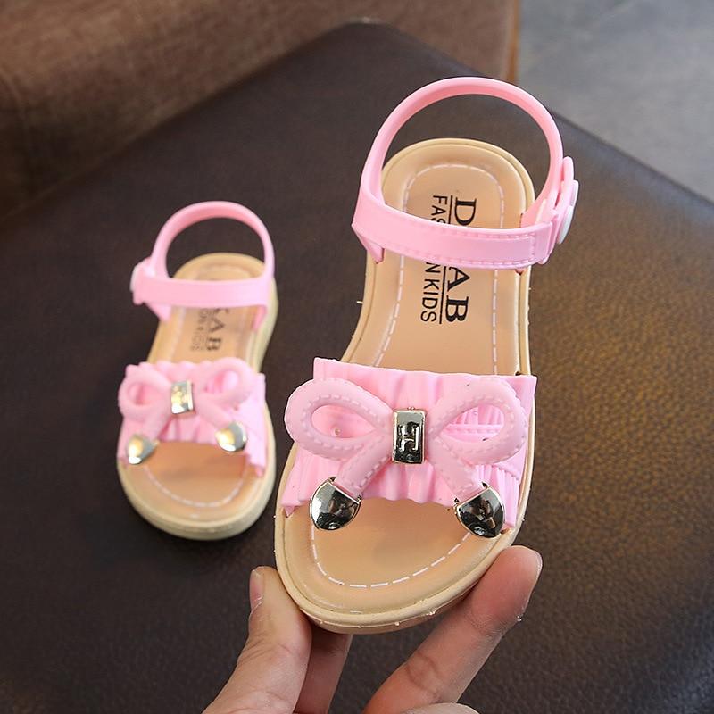 2020 New Fashion Bowtie Leather Summer Childrens Big Kids Rivets Soft Bottom Girls Beach Shoes 1 2 3 4 5 6 7 8 9 10 11 12 Years