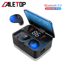 CALETOP TWS 5.0 Bluetooth Earphone Wireless Headphone With LED Display Hifi Stereo Earbuds With Mic Handsfree 2000mAh Power Bank wireless headphones bluetooth 5 0 touch control led display bluetooth earphone with mic stereo earbuds with 2000 mah power bank