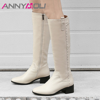 ANNYMOLI Rivet Real Leather Mid Heel Boots Lady Knee-High Boots Women Shoes Round Toe Thick Heels Zip Long Boots Winter Gray 40 women suede comfort thick heel knee high boots fashion zipper boots fall winter round toe 2018 shoes black brown dark gray
