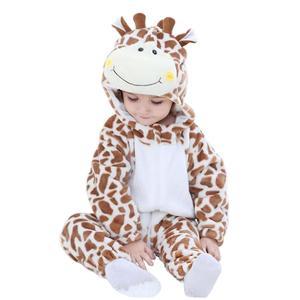 Doubchow unisex bebê macio flanela bonito marrom girafa inverno macacão crianças meninas meninos babys snowsuit traje cosplay macacões