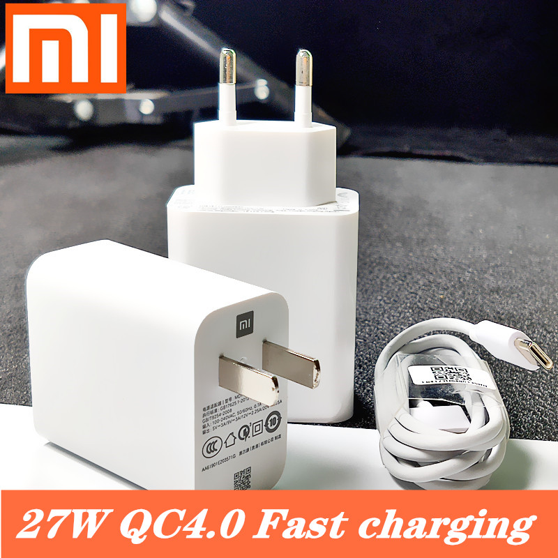 Original <font><b>27W</b></font> EU xiaomi Fast <font><b>charger</b></font> QC 4.0 turbo charge adapter usb type c cable for <font><b>mi</b></font> 9 se 9t CC9 Redmi note 7 8 pro K20 mix 4 image