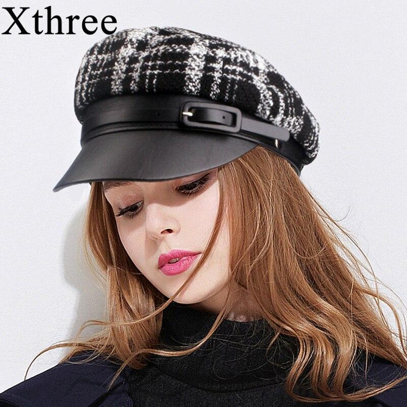 Xthree Autumn Winter Wool Military Hat Leather Cap Fashion Hats For Women Female Flat Cap Salior Hat Girl Visor Travel Berets