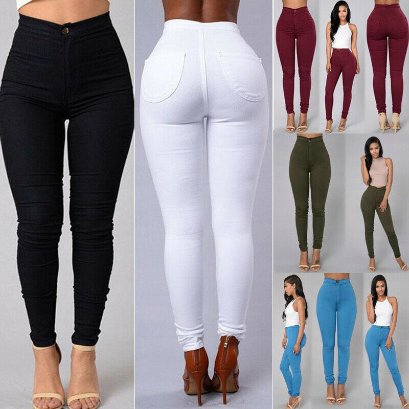 Goocheer 5 Colors Style Women Denim Skinny Leggings Pants High Waist Stretch Jeans Rose Pencil Trousers Goocheer 5 Colors Style Women Denim Skinny Leggings Pants High Waist Stretch Jeans Rose Pencil Trousers Plus Size S-3XL