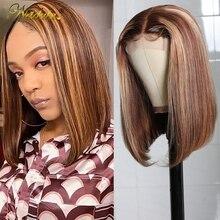 Игрока Nadula короткий боб парики из натуральных волос на кружевной 14 дюймов прямые человеческие волосы парики из натуральных волос 4x1 T кружев...