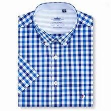 Мужская клетчатая рубашка на пуговицах с коротким рукавом и карманом, Стандартная посадка, клетчатые удобные хлопковые летние тонкие повседневные рубашки