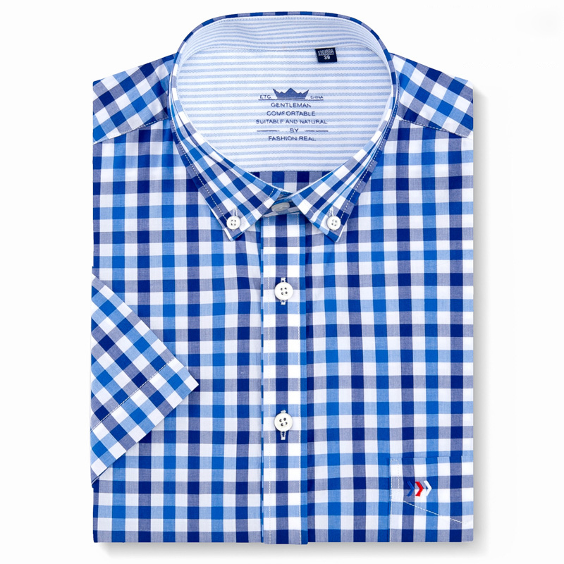 Men's Button-down Short Sleeve Check Plaid Shirt With Pocket Standard-fit Checkered Comfortable Cotton Summer Thin Casual Shirts