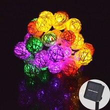 Guirnalda de luces LED de 6M 30 guirnaldas de luces alimentadas por energía Solar, Bola de ratán, guirnalda de luces para decoración navideña y exterior