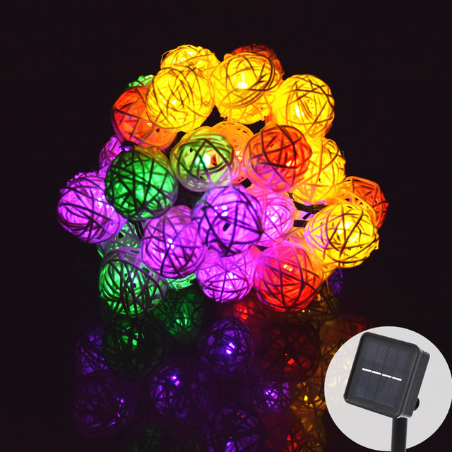LED Light String 6M 30 LED Garland Solar String Lights Rattan Ball Fairy String Light For Holiday Christmas Outdoor Decoration