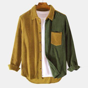 Men Fashion Patchwork Corduroy Blouse Shirt Long Sleeve Business Social Shirt Solid Color Plus Size