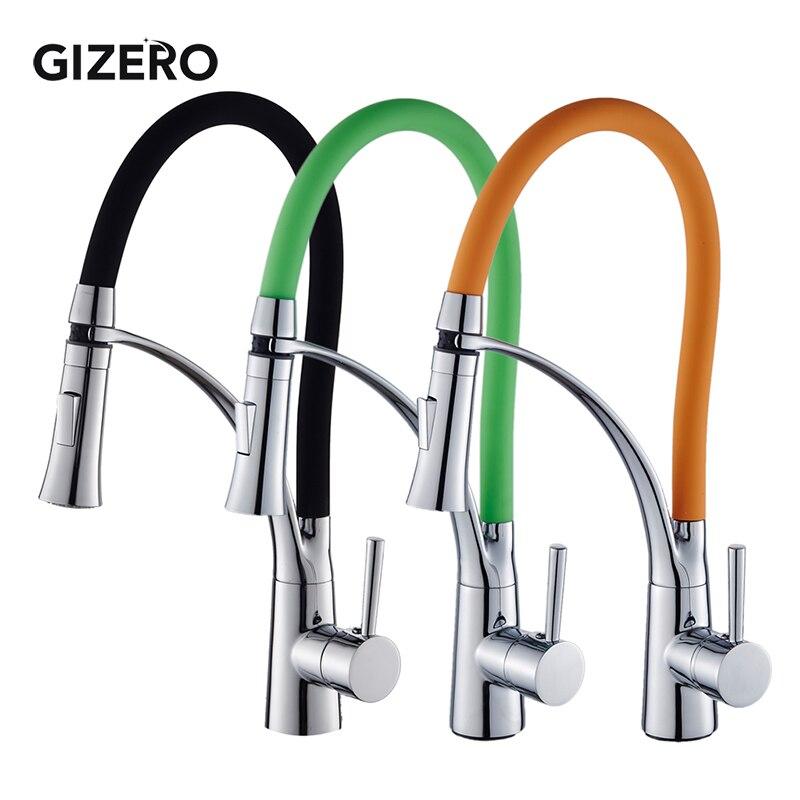 Robinet de cuisine tirer vers le bas Design noir en caoutchouc Chrome mélangeur robinet pour cuisine poignée unique cuisine robinets mélangeur chaud et froid ZR668