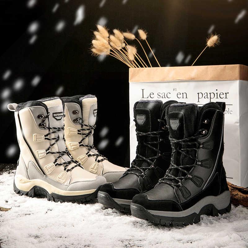 ผู้หญิงฤดูหนาวรองเท้ากันน้ำรองเท้าอุ่นรองเท้าหนังหญิงกลางแจ้ง Trekking รองเท้าผู้หญิงขนาดใหญ่ 35- 42 รองเท้า