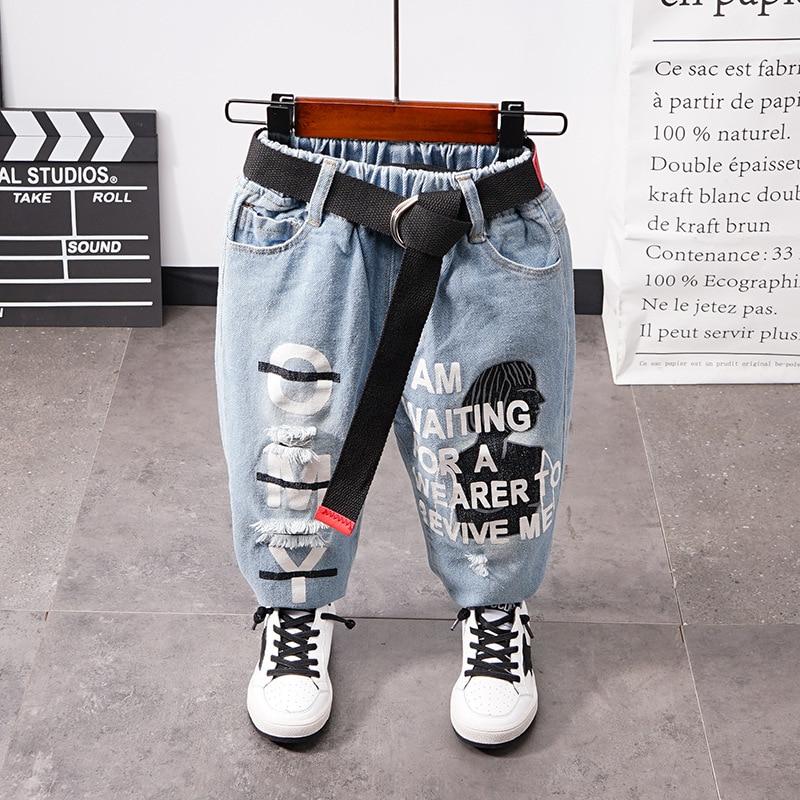 Брендовые детские джинсовые штаны для мальчиков весенне-осенние мягкие детские хлопковые джинсовые штаны с эластичной резинкой на талии д...