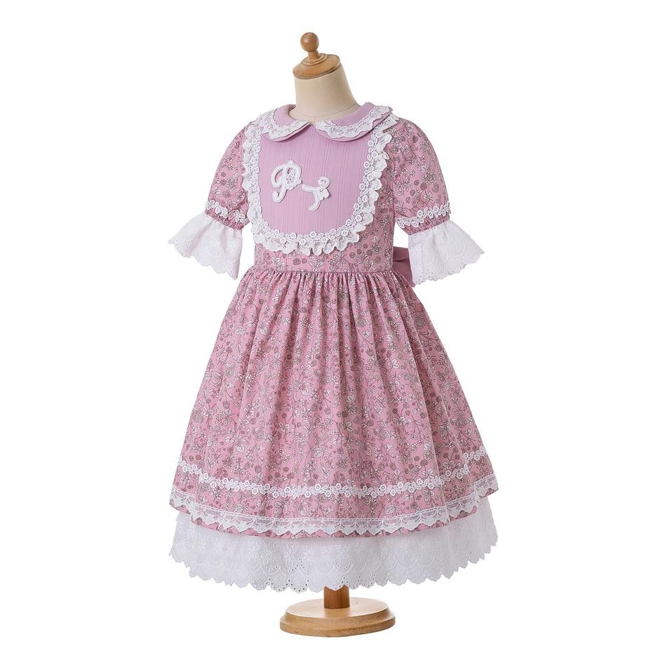 Image 3 - Pettigirl Wholesale Summer Flower Printed Dress Party Dress Doll Collar Raffle Sleeve Kids Boutique Dress +HeadwearDresses   -