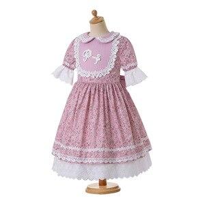Image 3 - Pettigirl toptan yaz çiçek baskılı elbise parti elbise bebek yaka çekiliş kollu çocuk butik elbise + şapkalar
