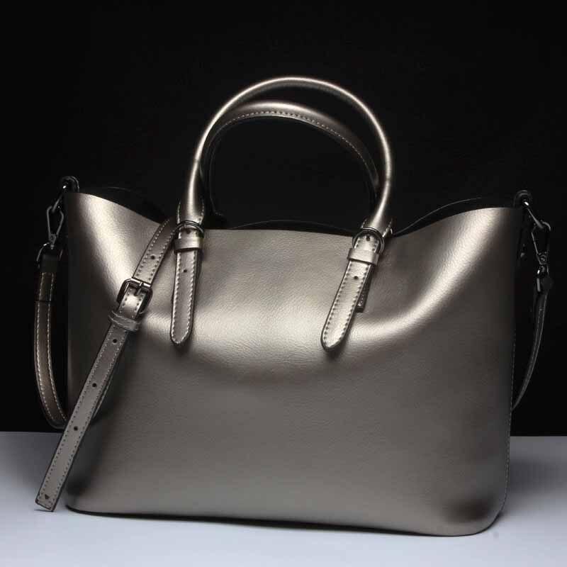Sacs à bandoulière en cuir véritable argent pour femmes 2019 sacs à main de luxe de haute qualité grand sac Messenger fourre-tout dames sacs à main naturel