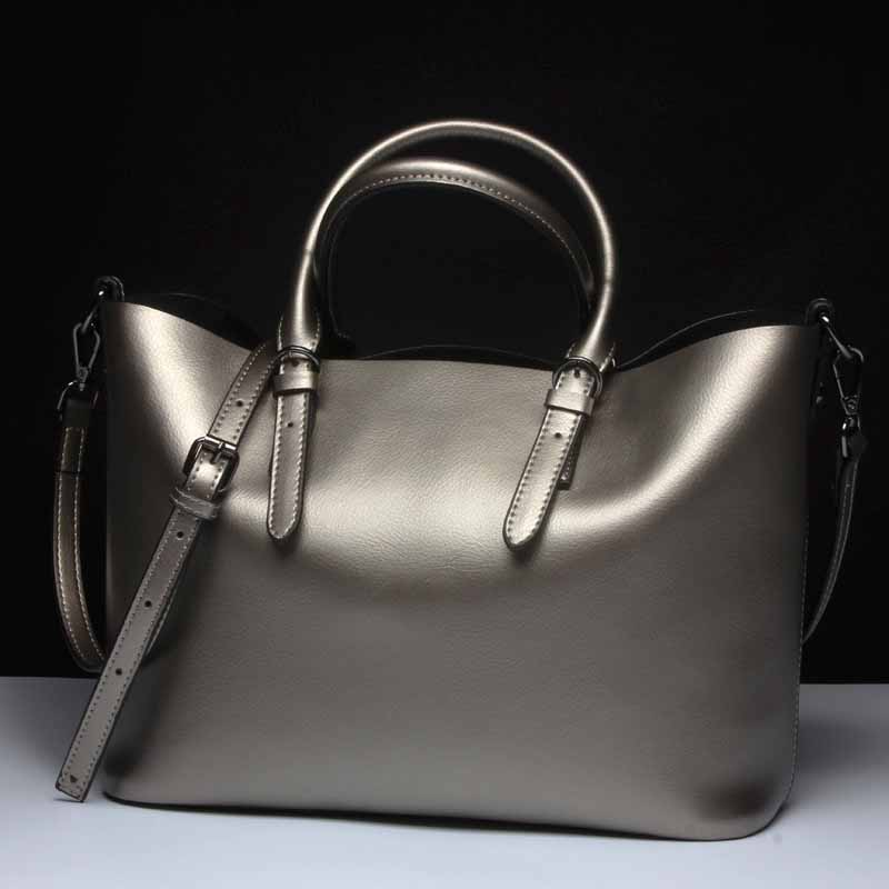 Silver Genuine Leather Shoulder Bags For Women 2019 High Quality Luxury Handbags Big Messenger Bag Tote Ladies Hand Bags Natural