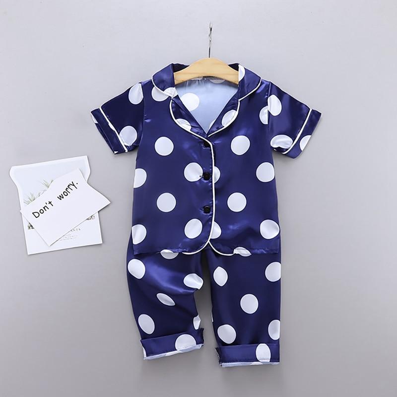 Autumn Baby Pajamas Kids Girls Boys Clothes Wave Point Print Sleepwear Set Short Sleeve Blouse Tops+Night Pants 2PCS