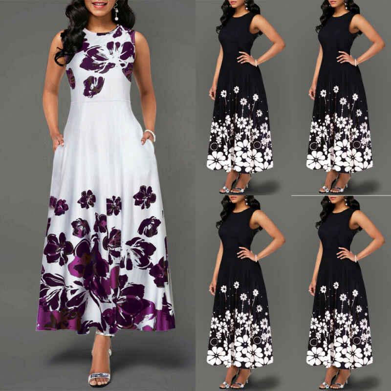 Gran tamaño elegante de las mujeres de impresión Floral largo Maxi vestido de noche de fiesta de playa vestido de verano sin mangas largo vestido de verano de flores disfraz
