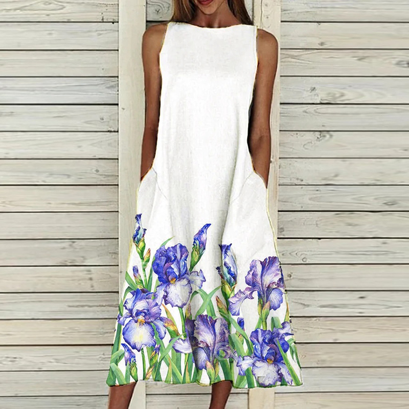 Women Sleeveless Dress 2021 Summer Vintage Floral Print Elegant Office Dress O-Neck Casual Loose Beach Party A-Line Dresses