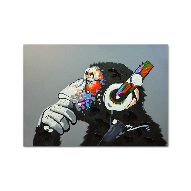 Monkey Earphone Music Fashion Animal Funny Poster Abstract Art Print Canvas Painting Modern Living Room Decoration Picture