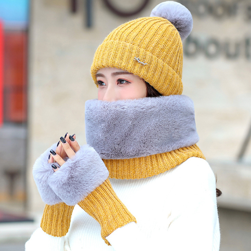 HT2671 New Autumn Winter Set Women Knitted Hat Scarf Gloves Set Ladies Thick Warm Fur Hat Scarf Gloves Female Winter Accessories