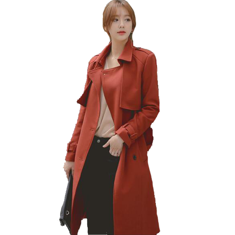 CHAOJUE Loose Double Breasted Long   Trench   2018 Fashion Casual Overcoat Women's Plus Size Outerwear Brick Red Coat   Trench   Gift