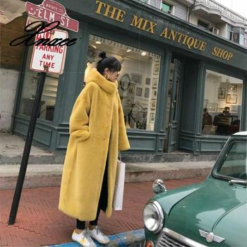 Xnxee Winter Faux Mink Fur Coat Women Winter Long Coat 2020 Female Hooded Thick Warm Faux Fur Jacket Ladies Loose Plush Coat casual thick faux fur hooded long sleeve bodycon coat for women page 4