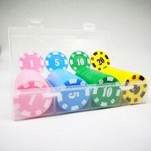 100 PCS 37mm plastic poker chips in box digital chip mahjong Poker game tokens coin chip card Texas Hold'em Poker