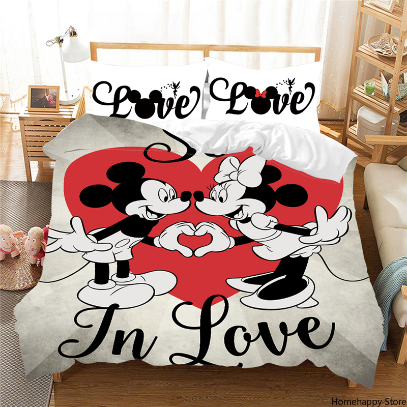 Night Mickey Mouse Bedding Set Lovely Couple Queen King Size Bed Set  Children Duvet Cover Pillow Cases Comforter Bedding Sets