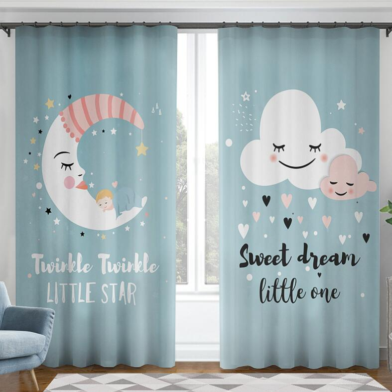 Nordic Cartoon Moon Cloud Curtains For Kids Bedroom Beautiful Boys Girls Room Curtains Drapes Ready Made Window Curtain Blackout Curtains Aliexpress