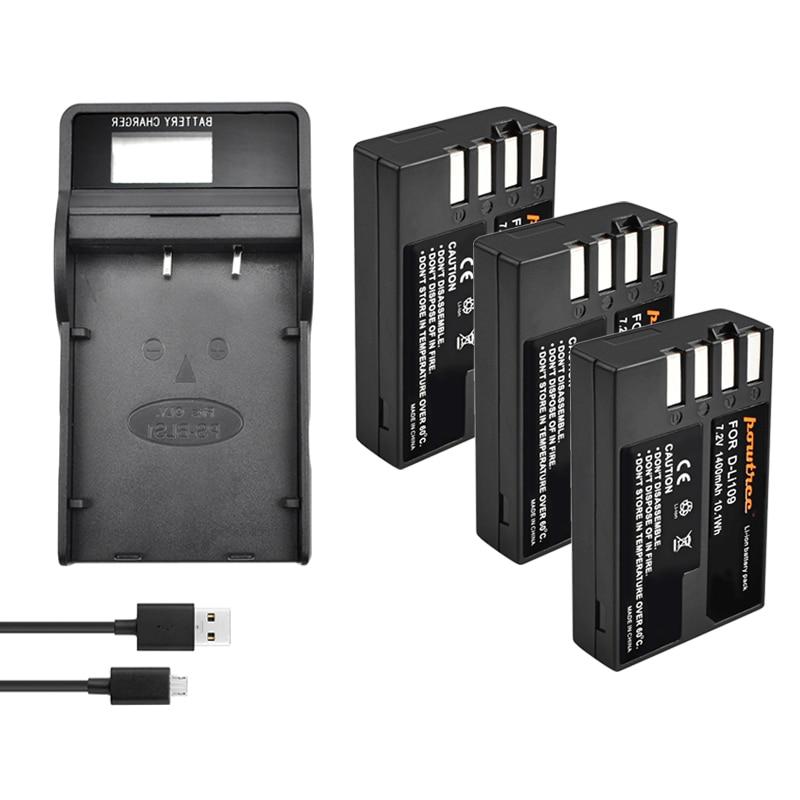 7,2 V 1400 мА/ч, литий-ионный Аккумулятор akku емкостью DLI109 D-LI109 D LI109 Камера Батарея для PENTAX K-R K-2 KR K2 KR K30 K50 K-30 K-50 K500 K-500 L50