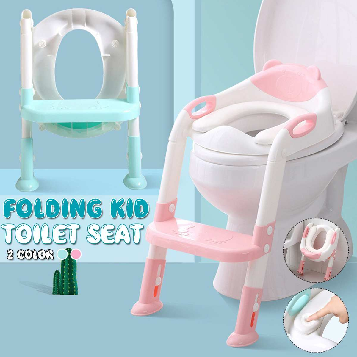 Folding Baby Potty Infant Kids Toilet Training Seat With Cushion Adjustable Ladder Portable Potty Training Seats For Children