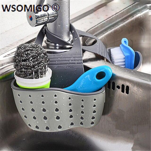 1pcs Kitchen Tools Organizer Adjustable Snap Sink Soap Sponge Kitchen Accessories Kitchen Hanging Drain Basket Kitchen Gadgets-S 2