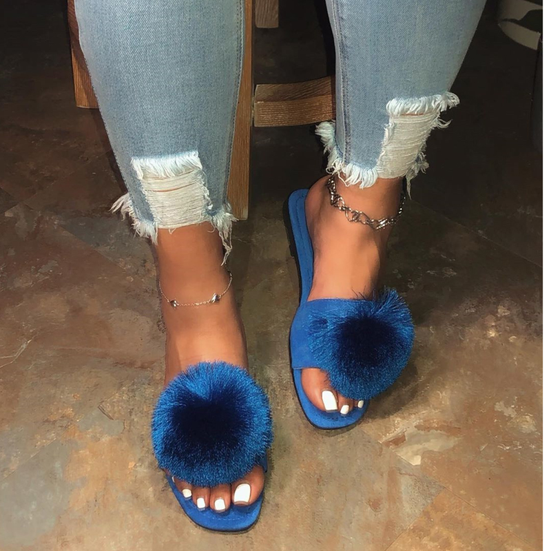 2020 New Ladies Slippers Sexy Slippers Handmade Roman Style Fashion Open Toe Furry Slippers Beautiful Colors Indoor And Outdoor