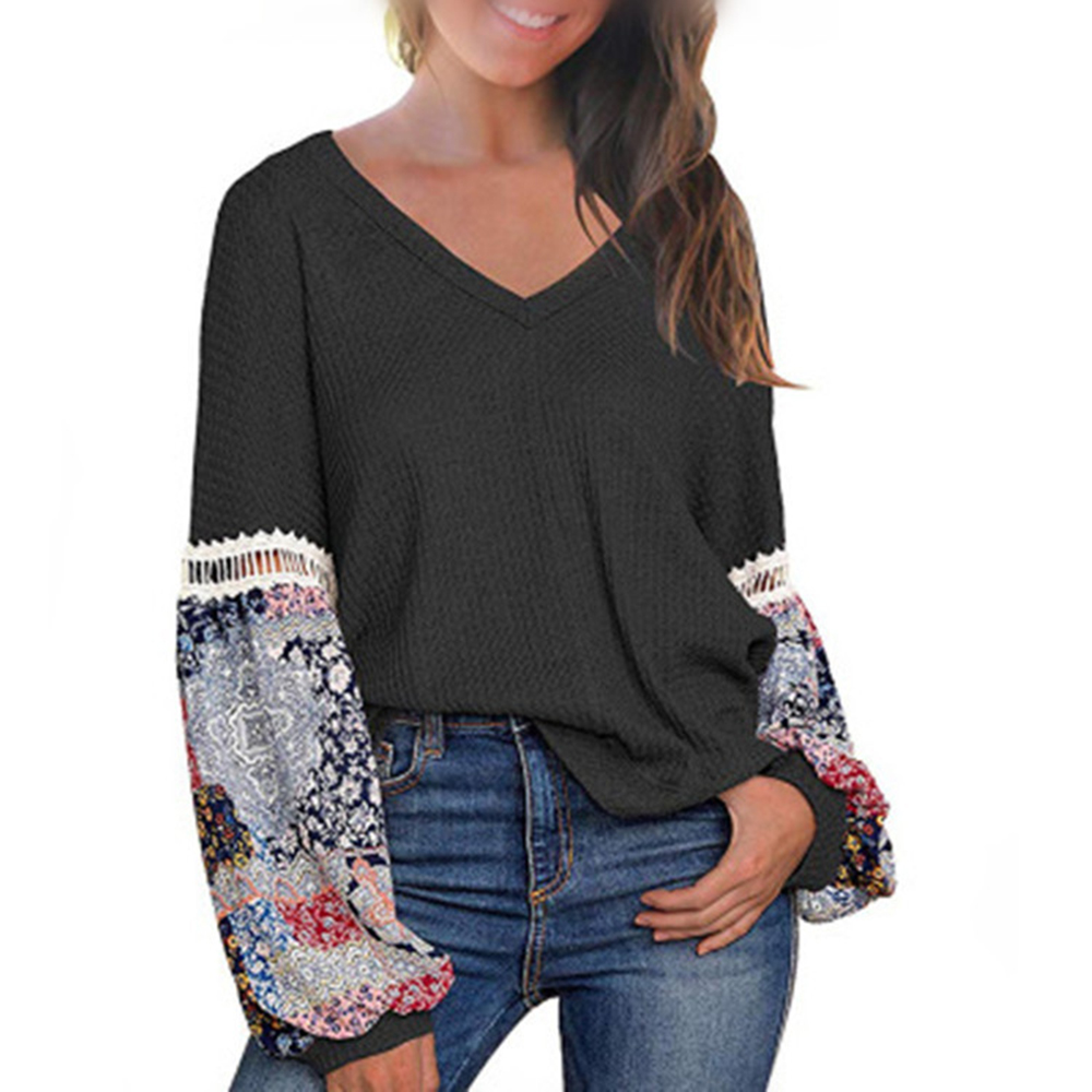 2020 Women's Casual Floral Printed Long Sleeve Blouses V Neck Lantern Sleeve Shirts Fashion Loose Boho Pullover Blouses