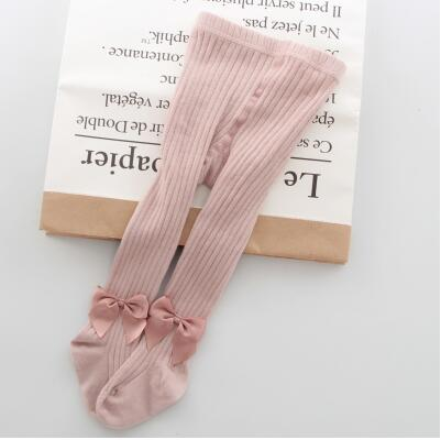 YWHUANSEN 0-10 Yrs Children Spring Autumn Winter Bowknot Tights Cotton Baby Girls Pantyhose Kids Infant Knitted Collant Tights 6