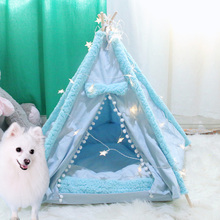 Portable Dog Beds For Medium dogs Foldable Pet Cat Tent Puppy Bed Kennel Dog House Washable Cushion Thicken Mats домик для кошки