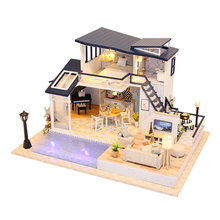 Кабина вилла для кукол дом Светодиодная лампа деревянный декор ручной работы подарок DIY Миниатюрные Мебель образовательная модель 3D мини