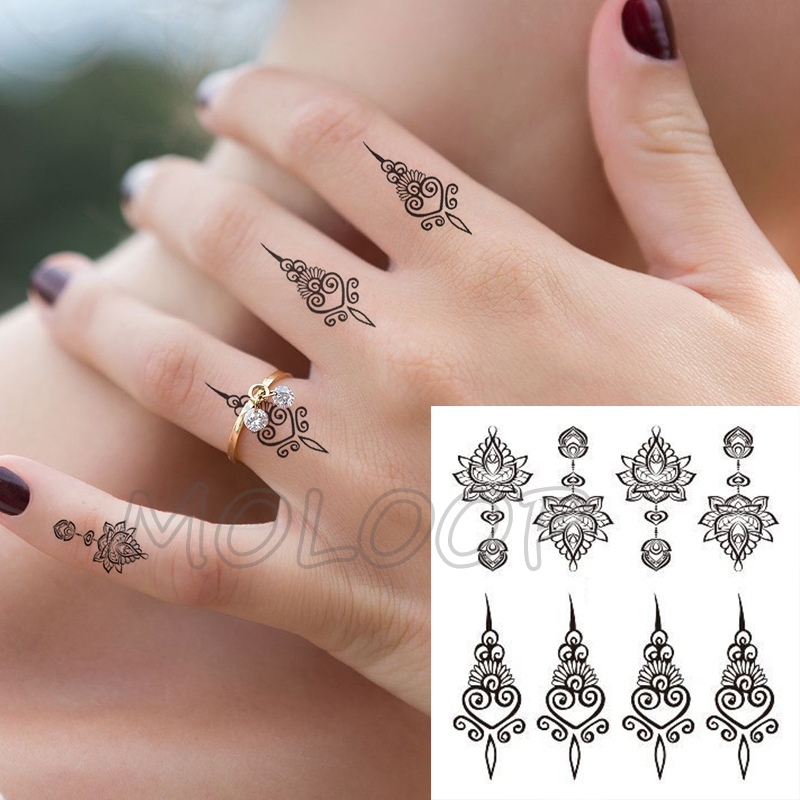 Waterproof Tattoo Sticker Mandala Totem Flower Black Fake Tatoo Hand Finger Water Transfer Flash Body Small Art Temporary Tatto