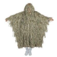 Odkryty strój maskujący Ghillie na polowanie Ghillie ubrania Top mężczyźni kamuflaż polowanie Gilley garnitur zewnątrz dżungli polowanie płaszcz Poncho