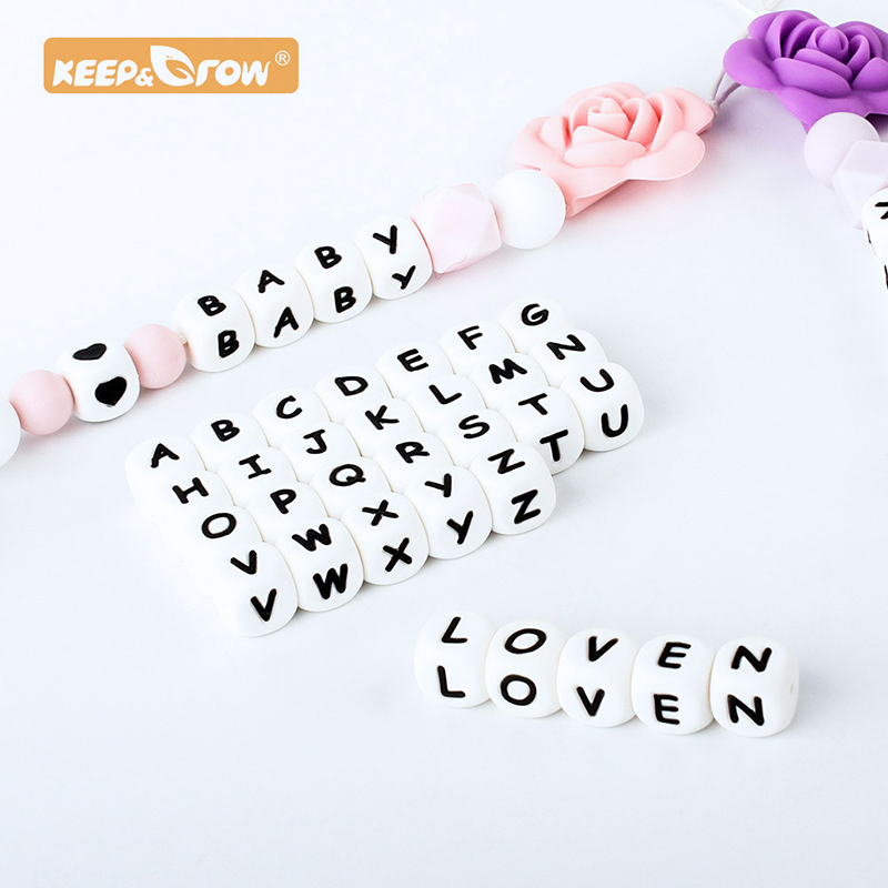 Keep&Grow 300pcs 12mm English Alphabet Silicone Letter Bead Rodent DIY Baby Teether Toy Necklace Food Grade Silicone Beads