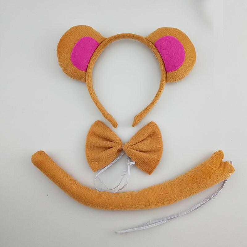 Детская повязка на голову с ушками животных для мальчиков и девочек; комплект с галстуком-бабочкой и хвостом для детей и взрослых; карнавальный костюм; вечерние аксессуары для волос - Цвет: 59