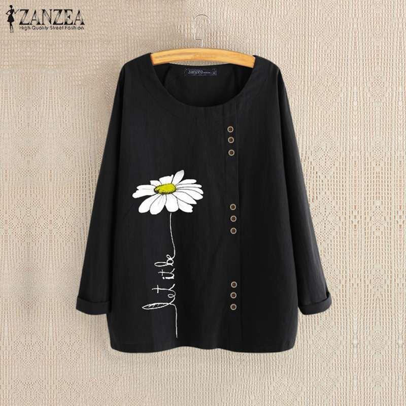 2019 ZANZEA Women's Autumn Printed Blouse Elegant Cotton Tunic Daisy Tops Long Sleeve Shirt Female Button Casual Blusas Oversize