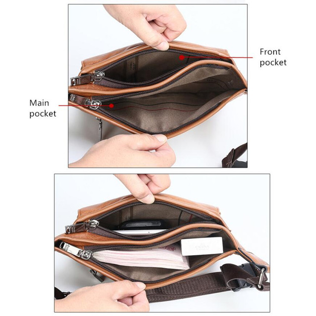 JEEP BULUO Brand Casual Functional Money Phone Belt Bag Chest Pouch Waist Bags Unisex Pack Sling Bag Leather Hip Bag 5