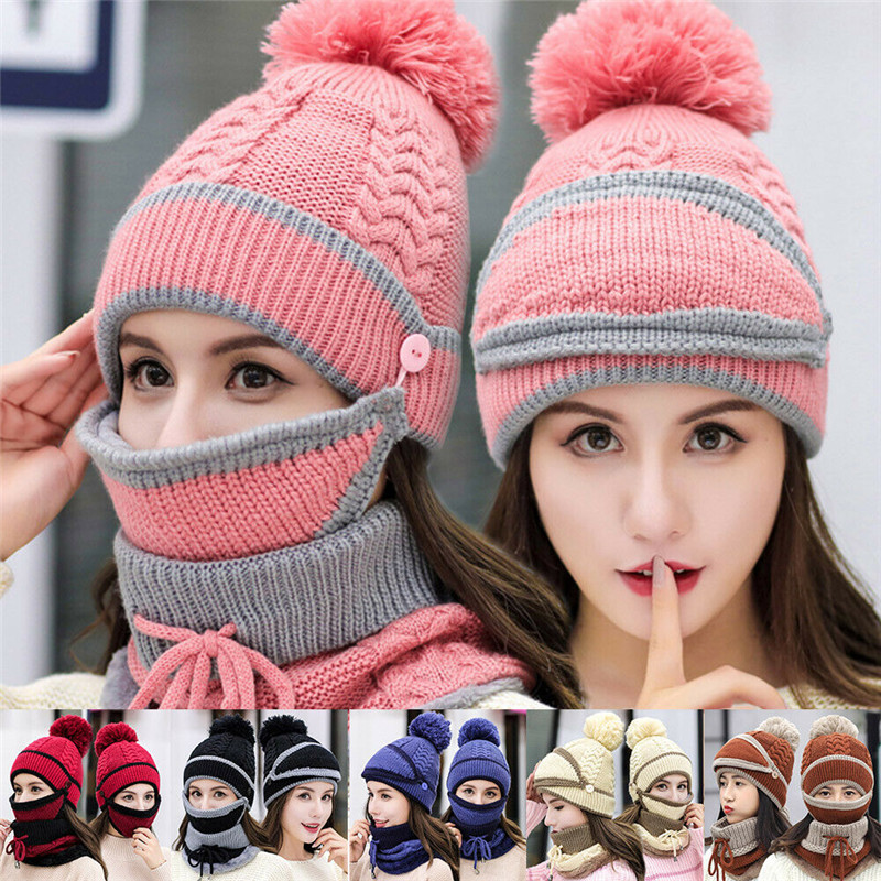 Women Knitted Beanie Scarf Cable Hat Face Mask 3pcs Snood Neck Winter Pompom Cap Mask Snood Neck Winter Pompom Cap
