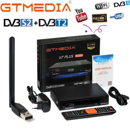 Original GTMEDIA V7 PLUS Satellite TV Receiver Full 1080P DVB-S2 DVB-T2 Support 1 Year CCcam WIFI Powervu Set Top Box Freesat V7