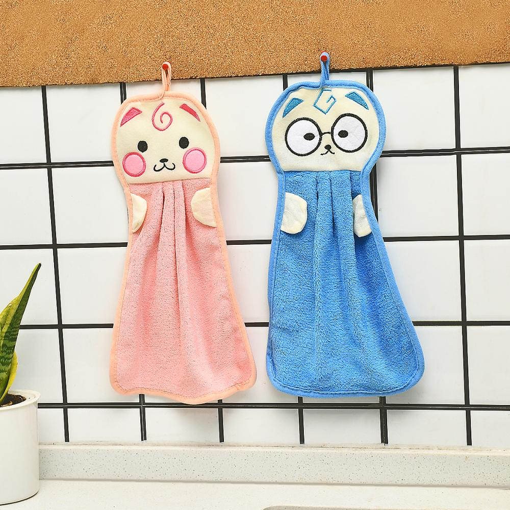 3PCS Cartoon Hand Dry Towel For Dish Washing Fabric Kitchen Towels Bathroom Hanging Dishes Cloth Soft Absorbent Cleaning Rags(China)