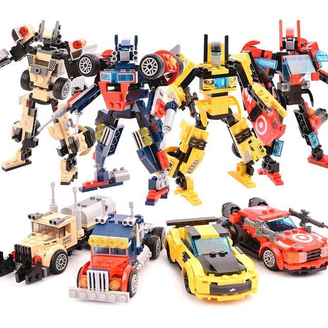 Transformers car robot building blocks compatible lego bricks Educational toys