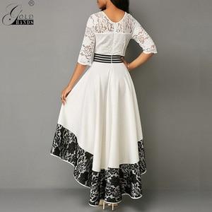 Image 3 - Ouro mãos outono vestido feminino elegante sexy oco para fora branco rendas vestido de festa longo casual plus size magro vestido de baile vestidos maxi