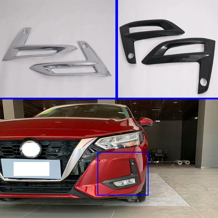 For Nissan Sylphy B18 Sentra 2019 2020 Car Accessories Front Fog Light Lamp Cover Trim Molding Bezel Garnish Sticker|Chromium Styling| |  - title=